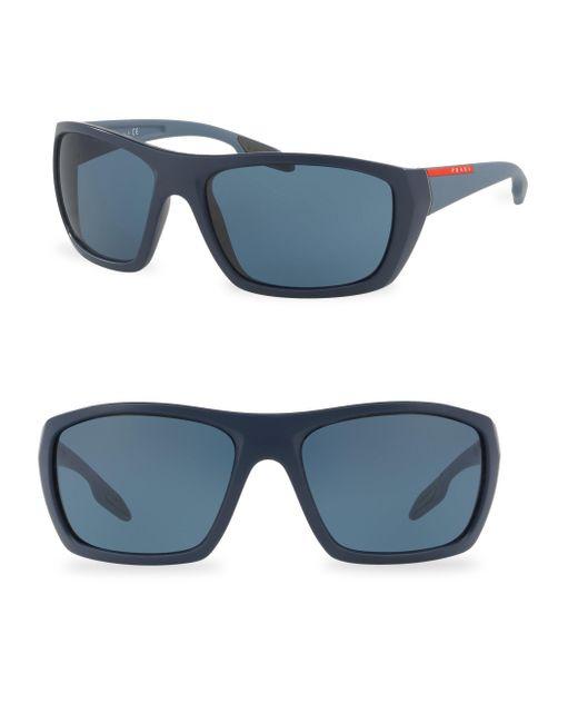 Prada Sport - Blue 61mm Wrap Sunglasses for Men - Lyst