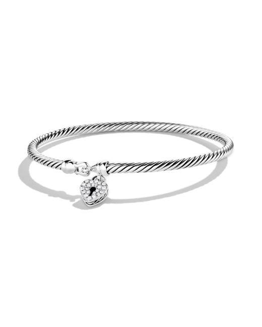 David Yurman - Metallic Cable Collectibles Heart Lock Bracelet With Diamonds - Lyst