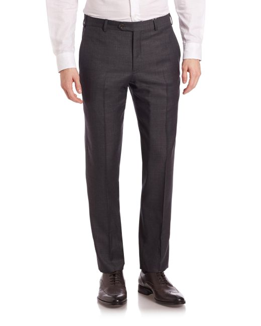 Armani | Gray Melange Textured Trousers for Men | Lyst