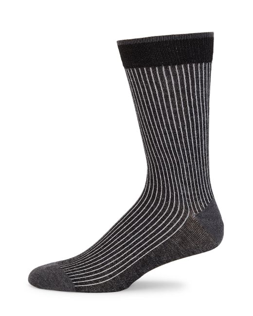 Saks Fifth Avenue - Black Cotton Ribbed Knit Socks for Men - Lyst