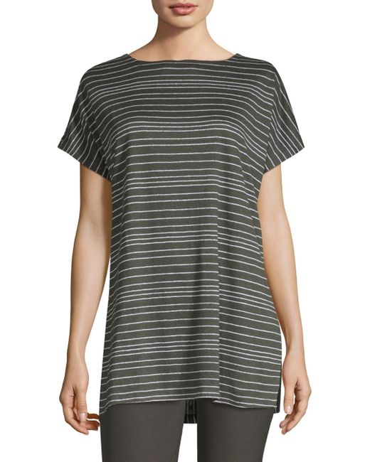 Eileen Fisher - Gray Boatneck Linen Tunic - Lyst