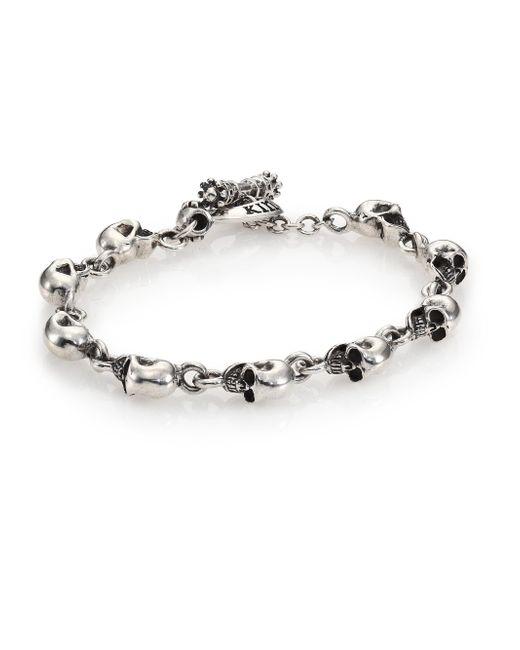 King Baby Studio - Metallic Sterling Silver Skull Link Bracelet for Men - Lyst