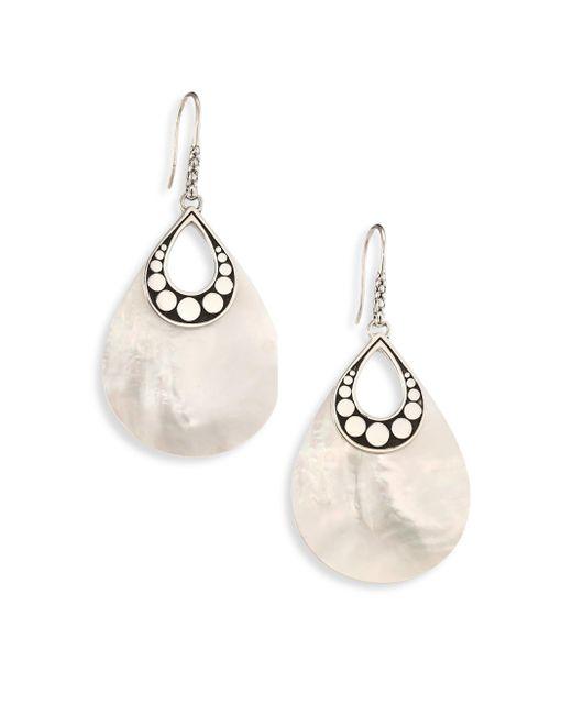 John Hardy | Metallic Dot Mother-of-pearl & Sterling Silver Drop Earrings | Lyst