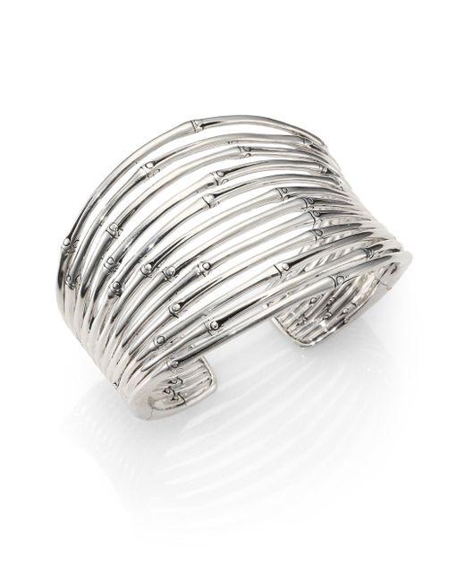 John Hardy   Metallic Bamboo Sterling Silver Wide Cuff Bracelet   Lyst