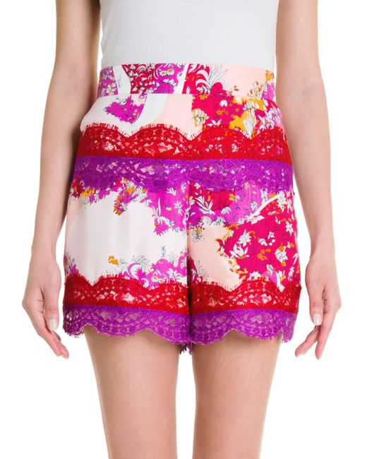 856f8425fadd Emilio Pucci - Women s Silk Twill Print Shorts - Pink Orange Floridian -  Size 38 ...