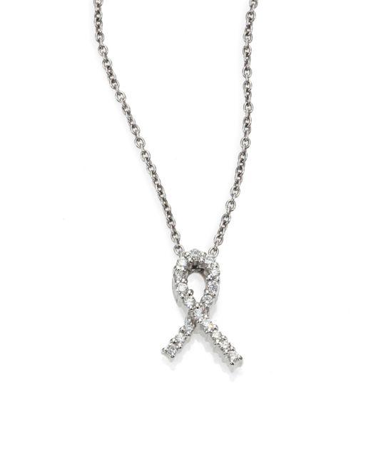 Roberto Coin Metallic Tiny Treasures Diamond & 18k White Gold Hope Pendant Necklace