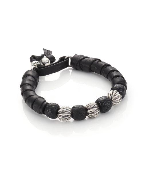 King Baby Studio - Black Wrap Leather & Sterling Silver Bracelet for Men - Lyst