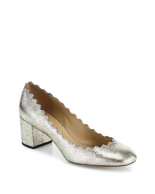Chloé - Gray Lauren Metallic Leather Block Heel Pumps - Lyst