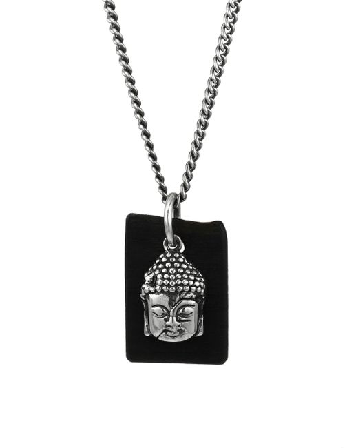 King Baby Studio - Metallic Sterling Silver & Leather Meditating Buddha Pendant Necklace for Men - Lyst