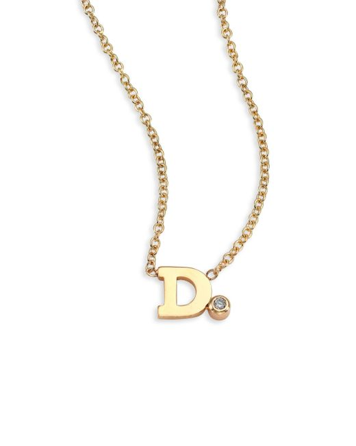 Zoe Chicco - Metallic Diamond & 14k Yellow Gold Initial Pendant Necklace - Lyst