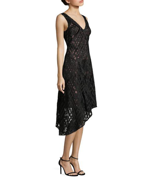 Aidan Mattox | Black Sleeveless Asymmetrical Hem Cocktail Dress | Lyst