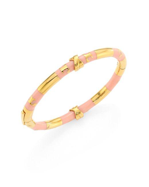 Tory Burch | Metallic Oro Stripe Bangle Bracelet | Lyst