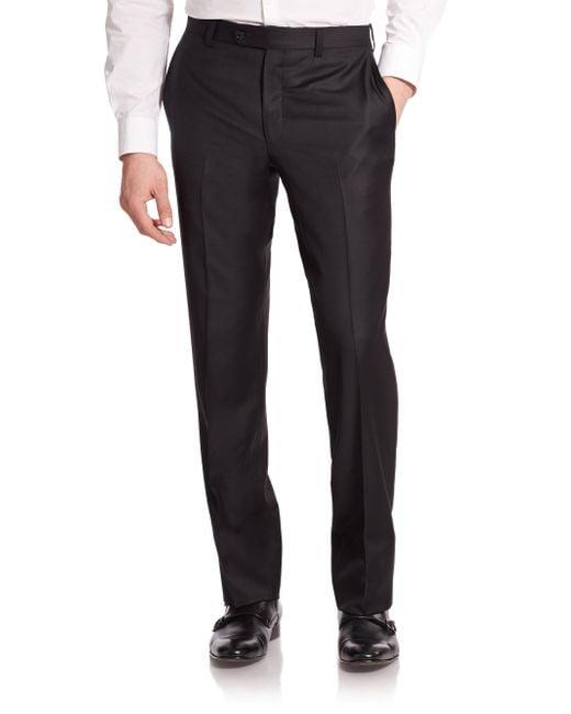 Saks Fifth Avenue Black Wool Dress Pants for men