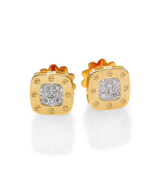 Roberto Coin | Metallic Pois Moi Diamond & 18k Yellow Gold Square Earrings | Lyst
