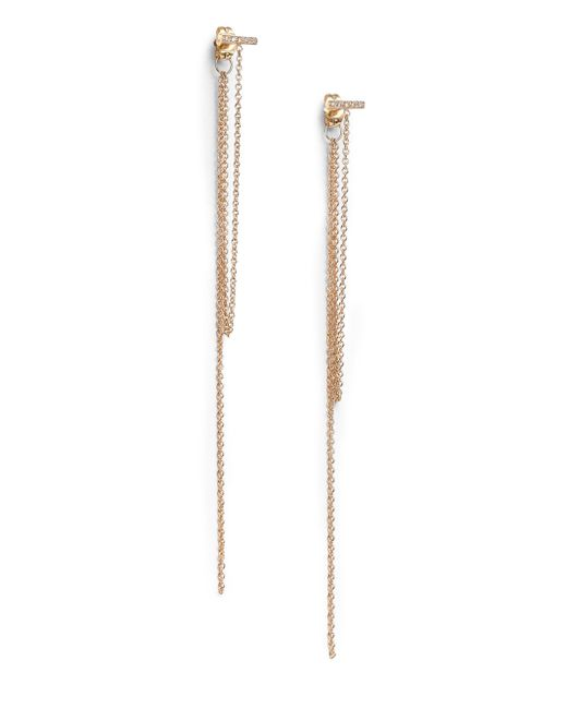 Zoe Chicco | Metallic Diamond & 14k Yellow Gold Bar Fringe Earrings | Lyst