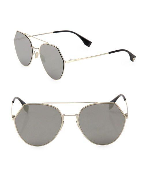 Fendi - Gray 55mm Notched Aviator Sunglasses - Lyst