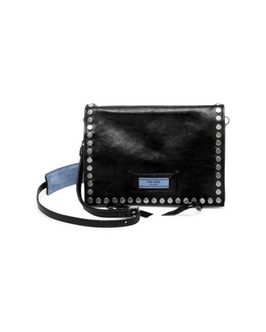 ada8c6ccd91c Prada Pattina Studded Leather Shoulder Bag in Black - Lyst
