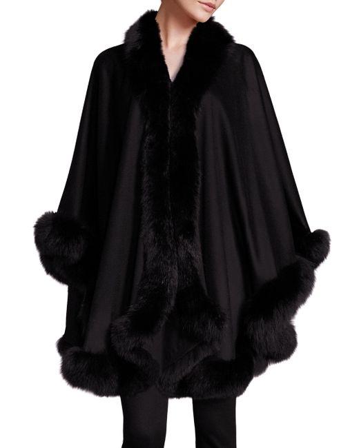 Sofia Cashmere Fox Fur-trimmed Cashmere Wrap In Black