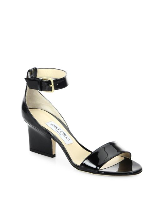 Jimmy Choo - Black Edina 65 Patent Leather Ankle-strap Sandals - Lyst