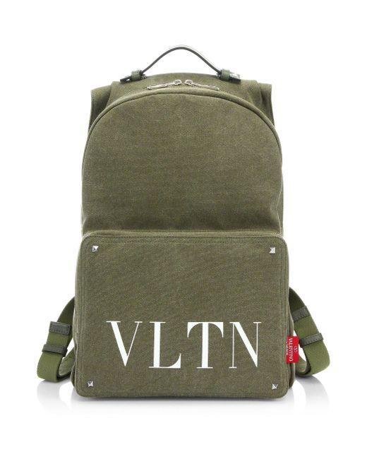 Valentino - Green Logo Backpack for Men - Lyst
