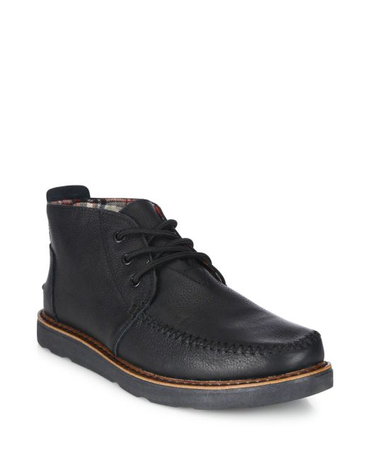 TOMS - Black Leather Chukka Boots for Men - Lyst