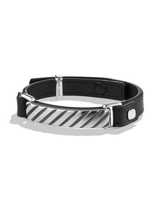 David Yurman - Men's Modern Cable Id Leather Bracelet - Black for Men - Lyst