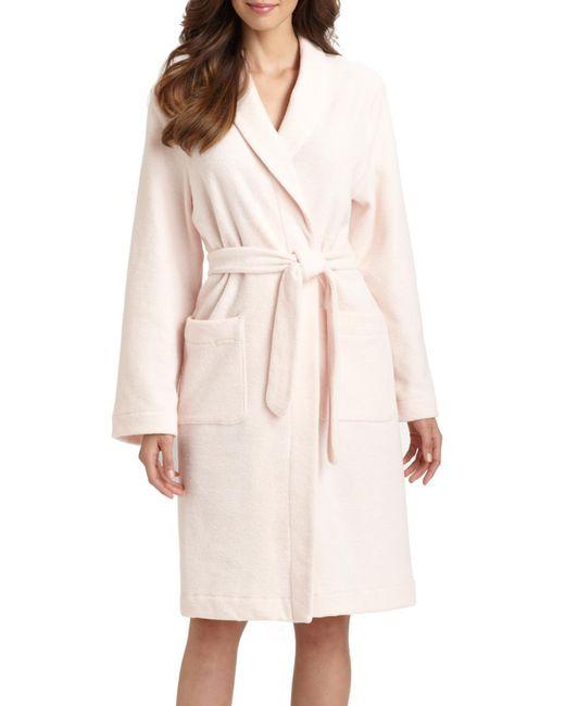 Hanro - Pink Plush Wrap Robe - Lyst