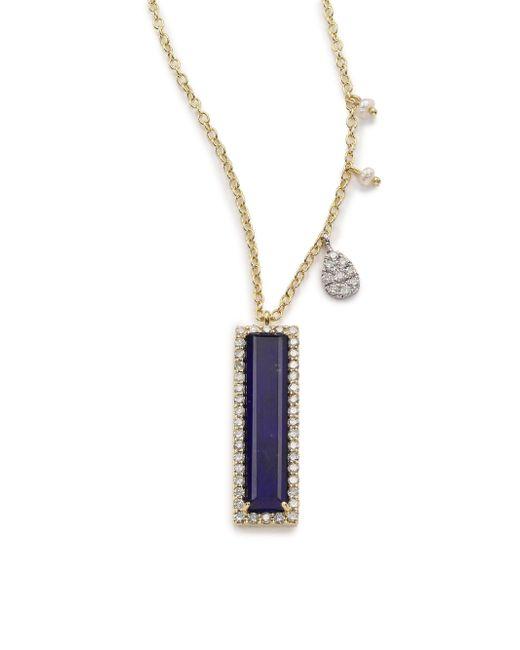 Meira T | Blue Sodalite, Diamond & 14k Yellow Gold Baguette Pendant Necklace | Lyst