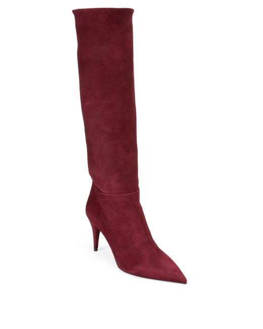 Prada - Red Slouchy Suede Boots - Lyst