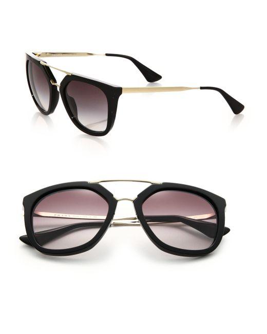Prada | Black Double-bar 54mm Pilot Sunglasses | Lyst