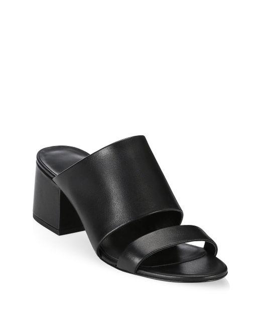 3.1 Phillip Lim - Black Cube Leather Mule Sandals - Lyst