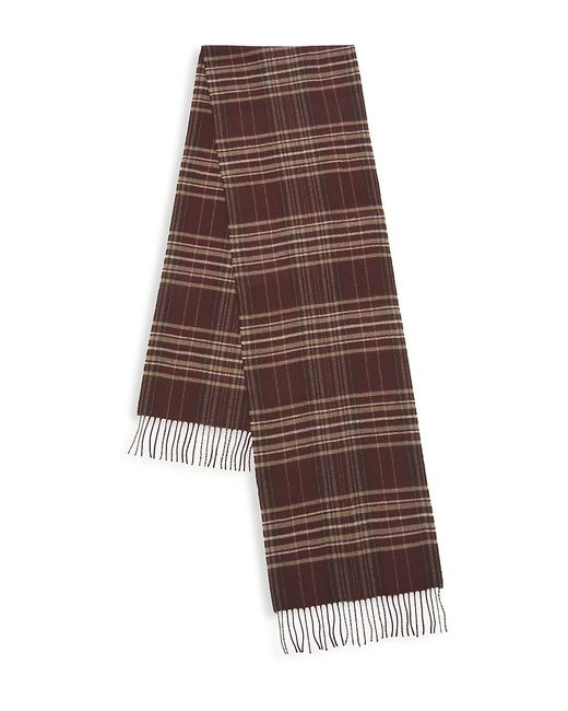 Saks Fifth Avenue Brown Collection Plaid Merino Wool & Cashmere Scarf for men