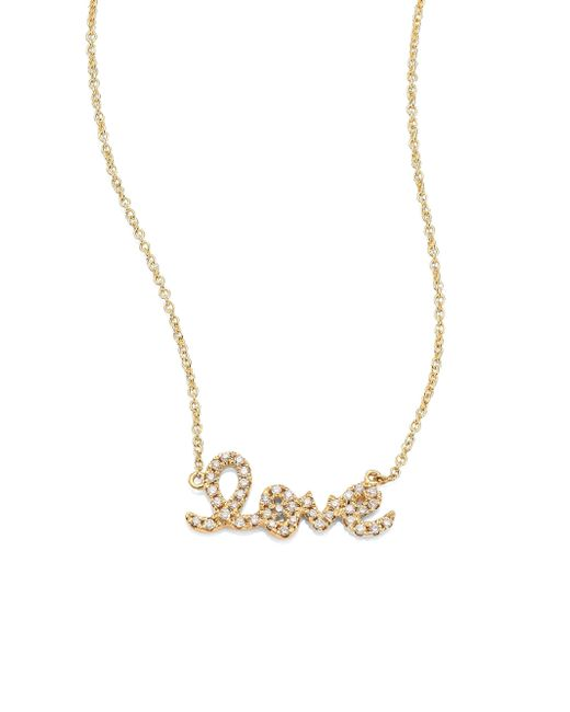 Sydney Evan - Metallic Small Love Diamond & 14k Yellow Gold Pendant Necklace - Lyst