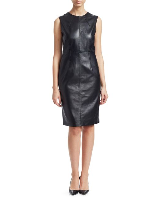 492ac412658 ... Saks Fifth Avenue - Women s Collection Leather Sheath Dress - Black -  Size Medium - Lyst