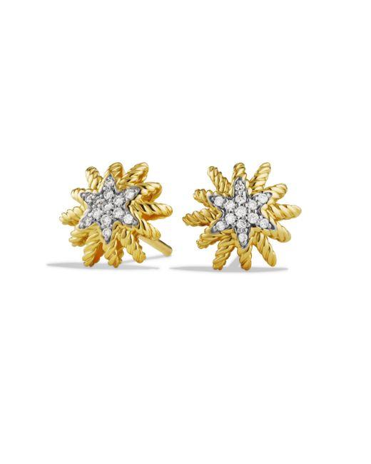 David Yurman - Metallic Starburst Mini Earrings With Diamonds In Gold - Lyst