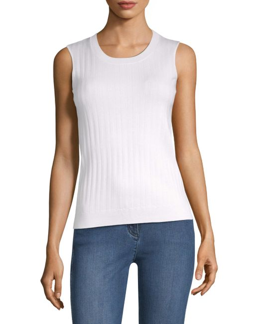 St. John - White Monica Rib Knit Shell - Lyst