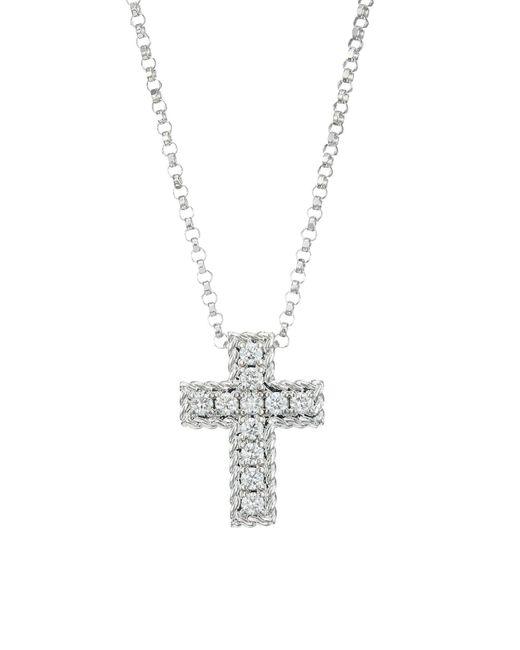 Roberto Coin Metallic Venetian Princess 18k White Gold & Diamond Cross Pendant Necklace