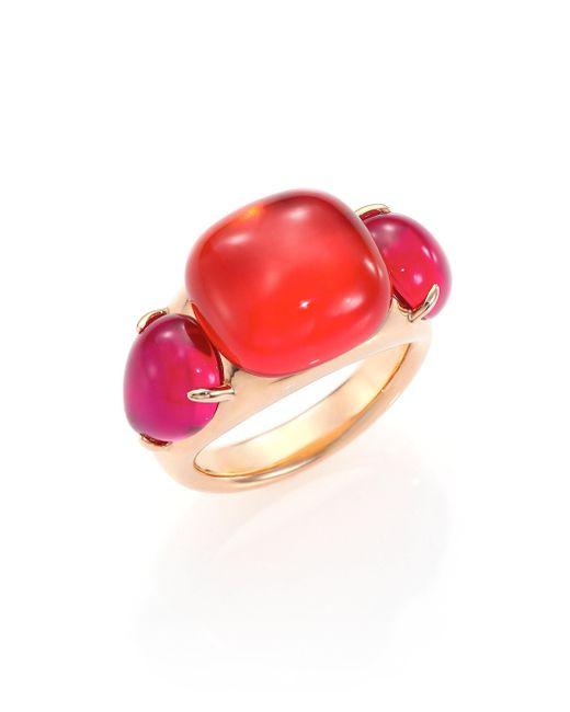Pomellato - Pink Rouge Passion Tangerine Three-stone Ring - Lyst