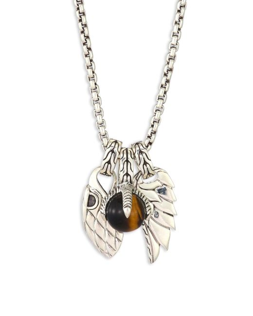 John Hardy Metallic Classic Chain Tigers Eye & Sterling Silver Pendant Necklace for men