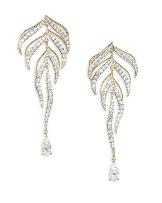 Adriana Orsini - Metallic Pirouette Goldtone Crystal Leaf Drop Earrings - Lyst
