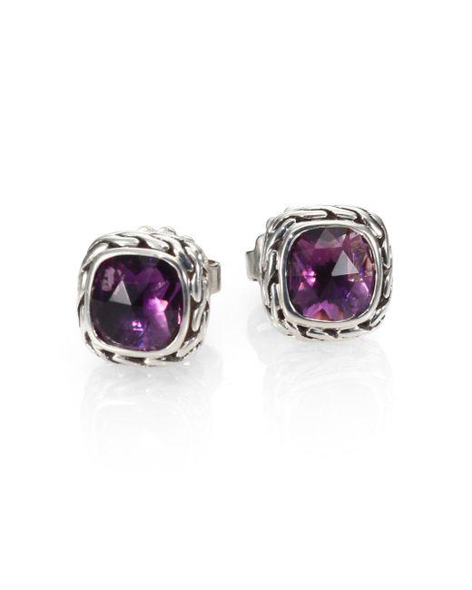 John Hardy - Purple Classic Chain Sterling Silver Stud Earrings - Lyst