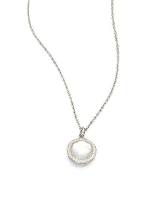 Ippolita - Metallic Stella Mother-of-pearl, Clear Quartz, Diamond & Sterling Silver Lollipop Doublet Pendant Necklac - Lyst