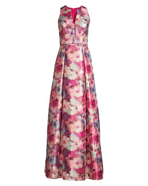 Aidan Mattox Pink Floral Jacquard Gown