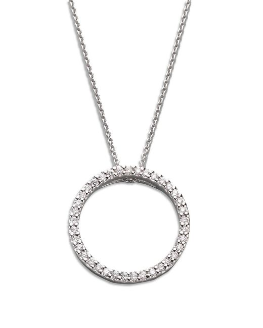 Roberto Coin Metallic Tiny Treasures Diamond & 18k White Gold Small Circle Pendant Necklace