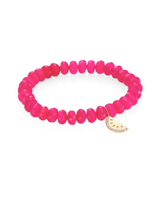 Sydney Evan - Diamond, Hot Pink Chalcedony & 14k Yellow Gold Beaded Bracelet - Lyst