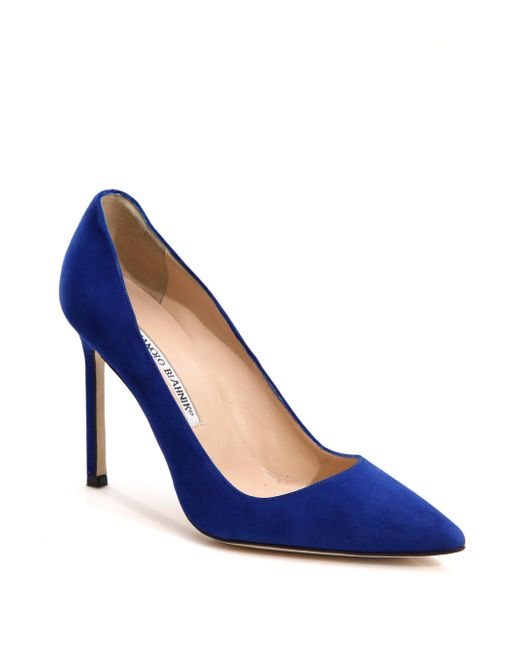 Manolo Blahnik - Blue Bb 105 Suede Point Toe Pumps - Lyst