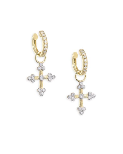 Jude Frances | Metallic Provence Tiny Diamond Cross Earring Charms | Lyst
