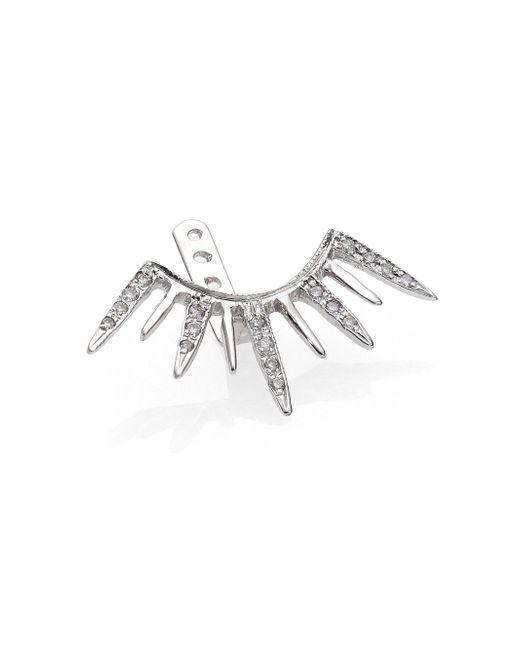 Jacquie Aiche - Diamond & 14k White Gold Large Starburst Single Ear Jacket - Lyst