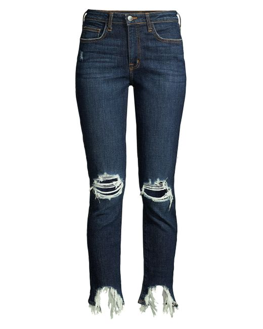L'Agence Blue High Line Distressed High-rise Skinny Jeans