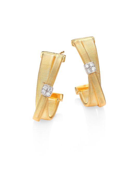 Marco Bicego   Metallic Masai Diamond, 18k Yellow Gold & 18k White Gold Hoop Earrings/0.75   Lyst
